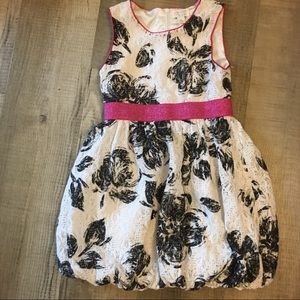Children's place bubble hem white black pink dress